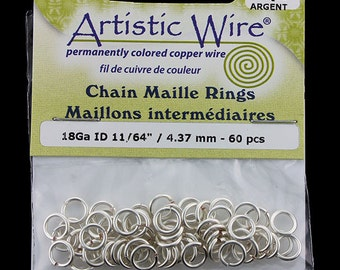 """Artistic Wire Tarnish Resistant Silver Color Jump Ring 4.3mm ID (11/64"""") 18ga (900AWS-06)"""