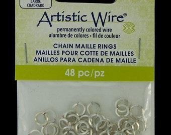 """Artistic Wire Square Wire Silver Color Jump Ring 4.3mm ID (11/64"""") 18ga (900AWSQ-06)"""