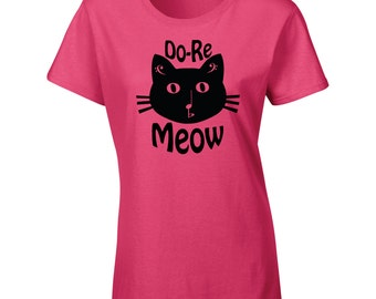 Do Re MEOW hand printed music cat shirt