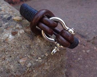 Men Bracelet-Leather Bracelet-Silver Bracelet-Men's Leather Bracelet-Mens Brown Bracelet-Men Metal Bracelet-Gifts for friends