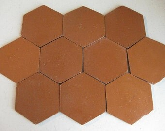 "ON Sale: 40-Terracotta Hexagon Mexican Clay 4"" Tile (Shipping Included)"