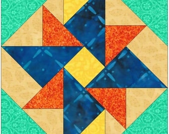 Double Windmill Pinwheel Paper Template Quilting Block Pattern