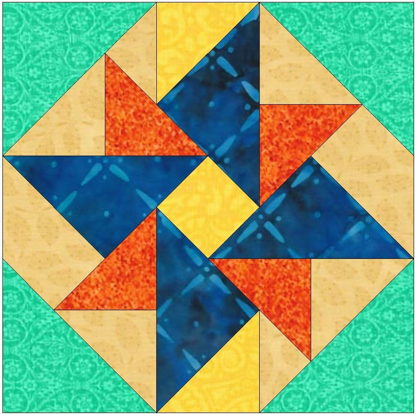 Pinwheel Quilt Block Template : Double Windmill Pinwheel Paper Template Quilting Block Pattern