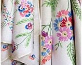 Vintage 1950s Hand Embroidered Tablecloth 110cm x 110cm