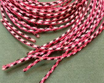 Bolo Tie Cord, Bright Hot Pink, White and Black , 36 inches long BBTC3