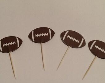 12 Football Party Picks - Cupcake Topper - Toothpicks - Food Picks Die Cut Punch Cardstock