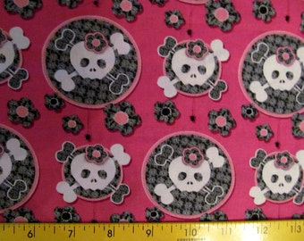 Girly Skulls with Lace Cotton Fabric BTY Rare VHTF