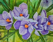 "Mother's Day gift of collectable art, ""Morning Crocus"" is an original watercolor painting of purple crocus blooming colorful background."