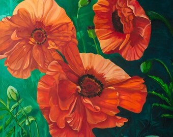 Poppy Passion   Limited edition print of floral oil painting