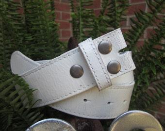 Size * large 36-38 white distressed vintage leather belt strap