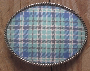 belt buckle blue green black white plaid belt buckle women's belt buckle Bohemian belt buckle mens belt buckle Silver Oval resin Belt Buckle