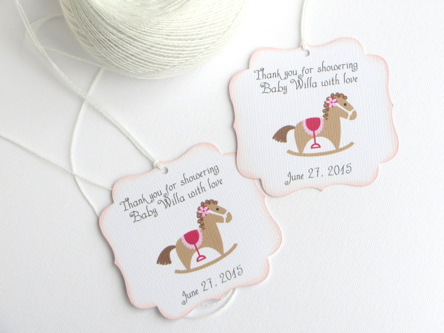 rocking horse baby shower favor tags pink baby shower thank