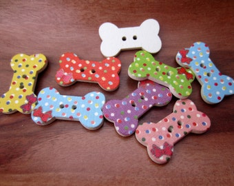 Wooden Bow Dog Bone Bow Decorative Painted Button Embellishment