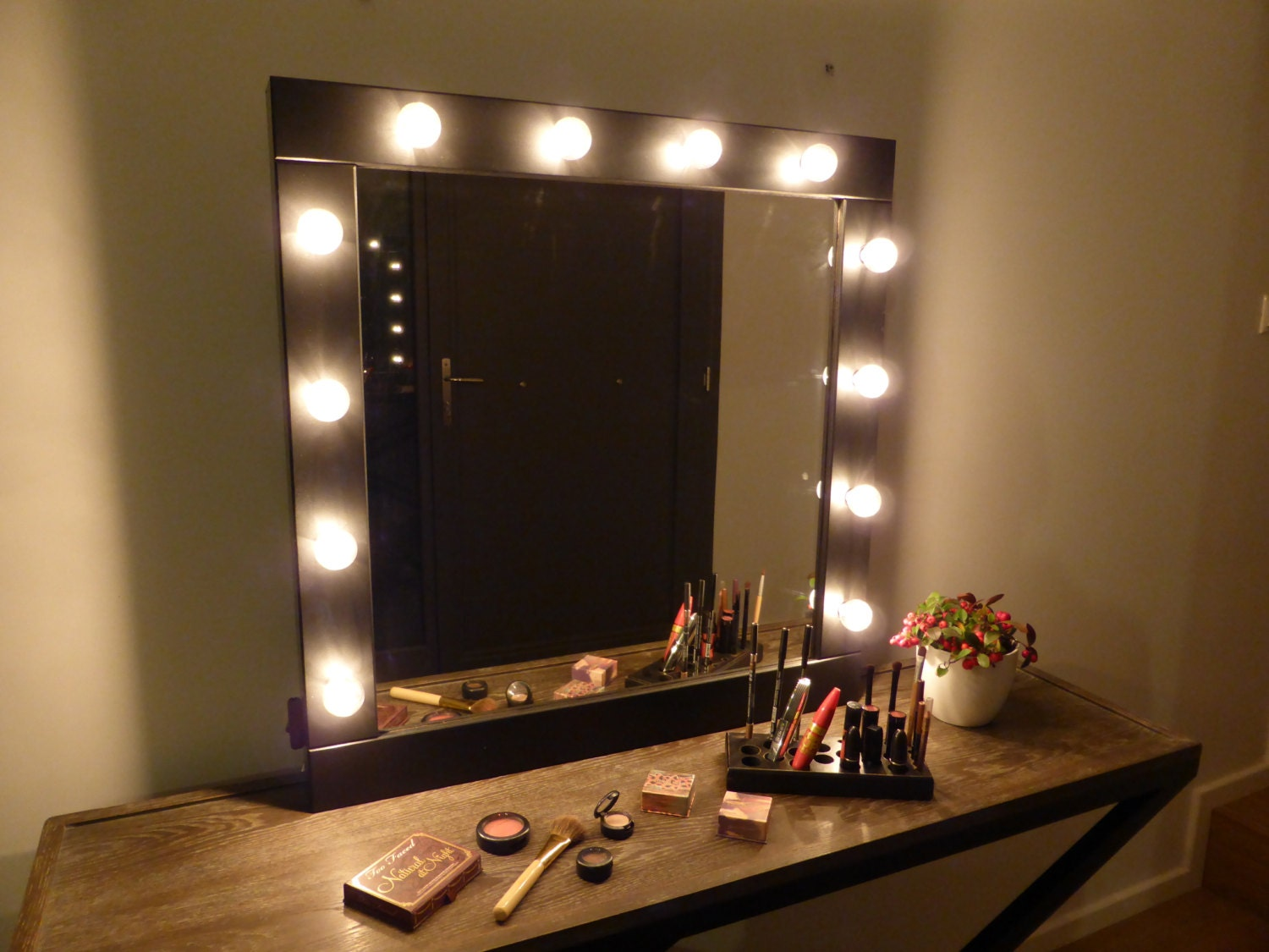 stand up vanity mirror with lights.  zoom Vanity mirror with lights makeup wall hanging or