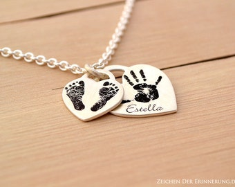 Heart Shaped Baby handprint or footprint Pendant - mother necklace  - Custom and Personalized