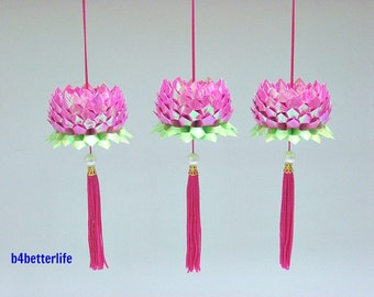 3pcs Small size Violet Red Color Origami Hanging Lotus. (AV Paper Series).