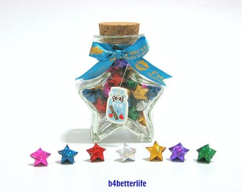 60pcs Tiny Size Lucky Stars In A Star-shaped Bottle. (4D Glittering paper series)