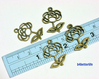 "Lot of 24pcs Antique Bronze Tone ""Rose"" Metal Charms. #BC2723."