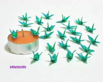 """100pcs Cyan Color 1-inch Origami Cranes Hand-folded From 1""""x1"""" Square Paper. (CY paper series)."""