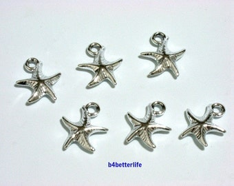 "Lot of 24pcs ""Starfish"" Silver Color Plated Metal Charms. #XX42."