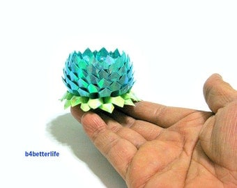 A piece of Small Size Blue Color Origami Lotus. (AV paper series). #FLT-157.