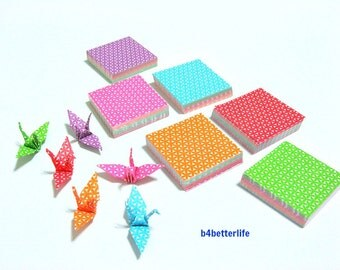 """350 Sheets 3.2cm x 3.2cm Assorted Colors DIY Chiyogami Yuzen Paper Folding Kit for Origami Cranes """"Tsuru"""". #MD112.(MD paper series)."""