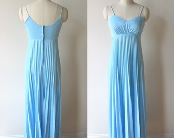 70's maxi dress Empire Waist Deep Blue poly knit Accordian pleated Skirt Evening/Prom dress size extra small.