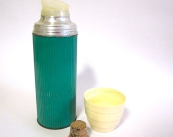 Vintage thermos drink canister turquoise