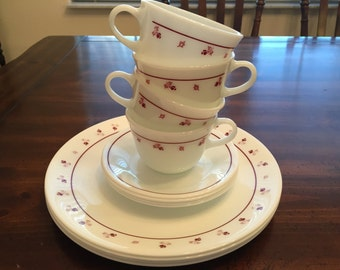 Vintage Corelle Burgundy Dinnerware - Set of 4 Plates, Cups and Saucers by Corning