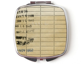 Vintage Library Card Compact Mirror - Checkout Card Compact Mirror - Teacher Gift - Library Due Date Compact Mirror - Gift for Reader