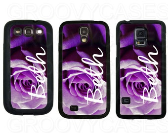 Personalized Samsung Galaxy S3 S4 S5 Case Rubber Purple Rose