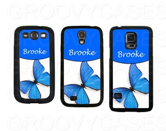 Personalized Samsung Galaxy S3 S4 S5 Case Rubber Blue Butterfly