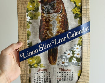 1982 Linen Slim Line Calendar by Stonelea Mills