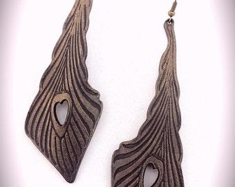 Long Elegant Art Nouveau Feather Earrings -  Leather Earrings - Bronze
