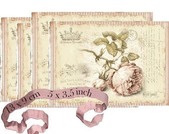 Shabby Chic Rose French Art Strips Instant Download digital collage sheet P173