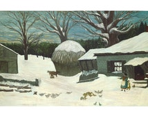 New England Farm In Winter, American Folk Art Oil Painting Print