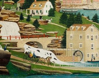Harbor Scene with Castle, 19th Century American Folk Art Painting Print