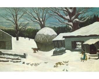 New England Farm In Winter, American Folk Art Oil Painting Print