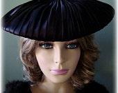 1940's Vintage Black Satin Pleated Pancake Style Hat