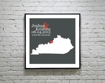 Kentucky Wedding Gift Custom State Map Personalized Couple Art Personalized Kentucky Map State Map Art Personalized