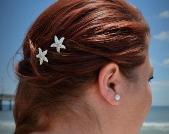 Silver Starfish Bobby Pins Beach Wedding Hair