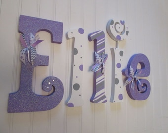 Nursery decor, Nursery wall decor, Nursery letters, Nursery wall hanging letters, purple, gray, & white nursery decor, nursery wall letters
