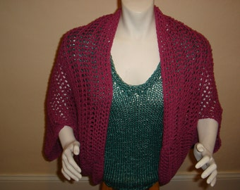 SALE BERRY CROCHET Shrug. Crochet Cotton Shrug. Will fit Small Meduim and Large