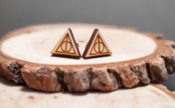 Laser Cut Harry Potter Deathly Hallows Wood Earrings | Harry Potter earrings | Unisex earrings