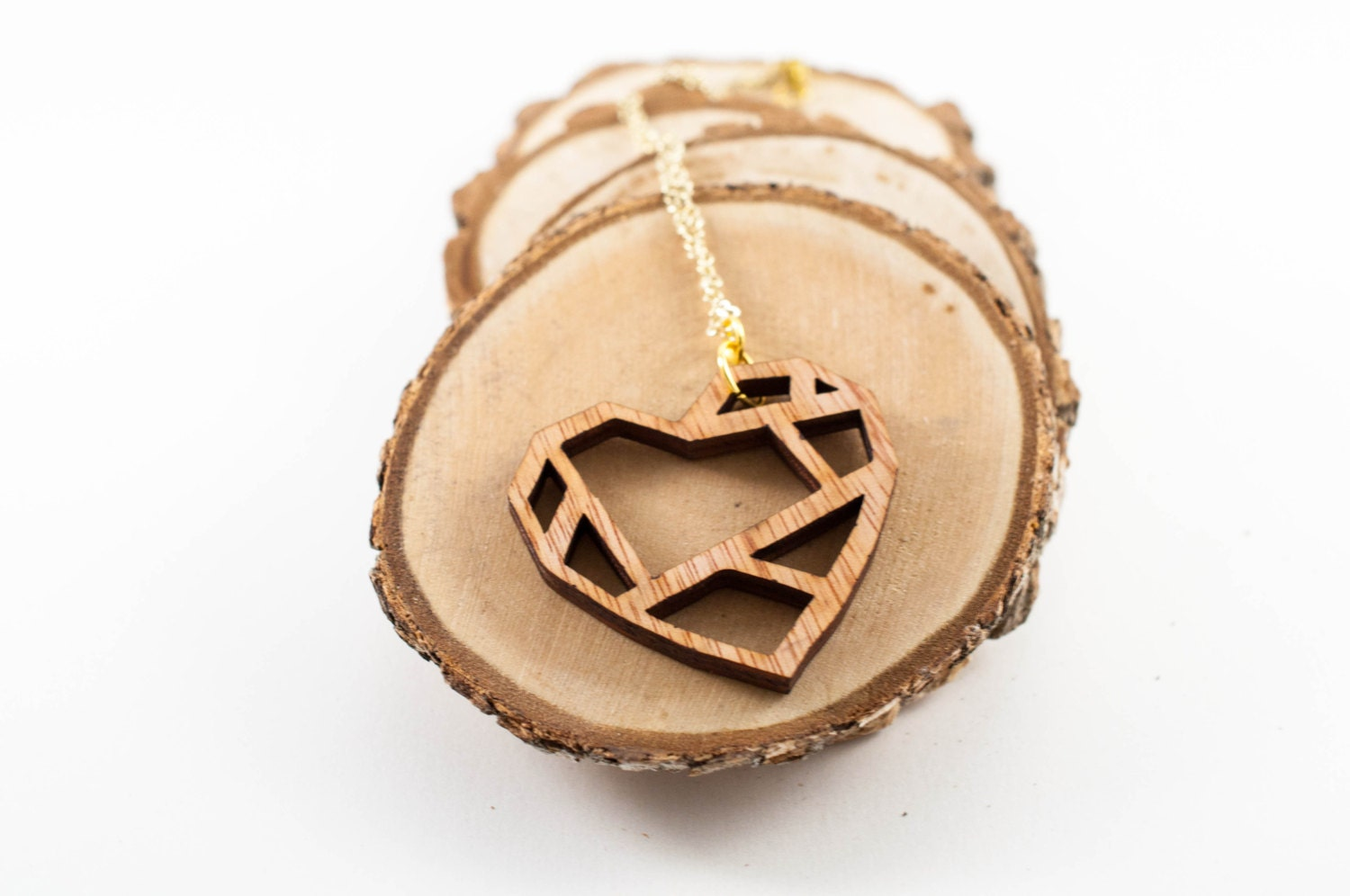 Geometric Heart Wood Necklace from SimplistiCreations