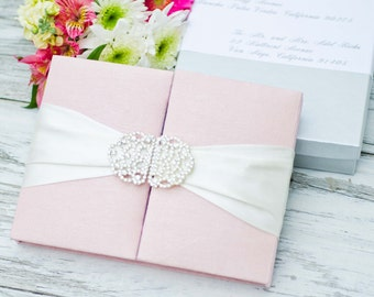Wedding Invitation - Blush Pink Silk Box Luxury - Couture Event Invitation - Custom Colors Available