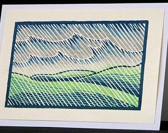Hand pulled, woodblock printed greeting card, 'Rain'.