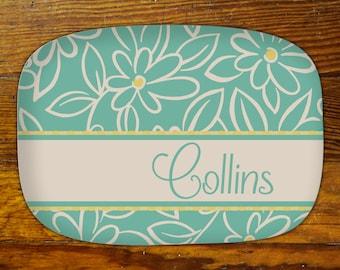 Personalized Serving Platter-Floral