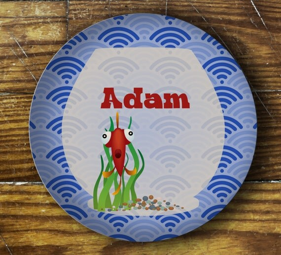 Personalized Dinner Plate or Bowl-Fish Bowl