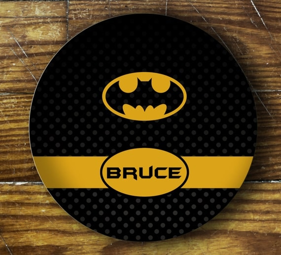 Personalized Dinner Plate or Bowl-Batman Inspired